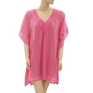 Free People Dot Embroidered Kaftan Pink Dress XS